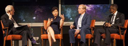 Bob Schieffer interviewing Sara Martinez, Woody Hunt, and Allan Golston for the Bridging the Economic Divide segment
